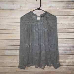 The Limited Houndstooth  Sheer L/S Blouse EUC